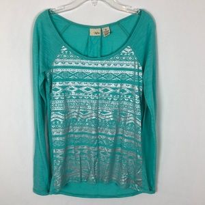 BKE Daytrip green and silver long sleeve top G8